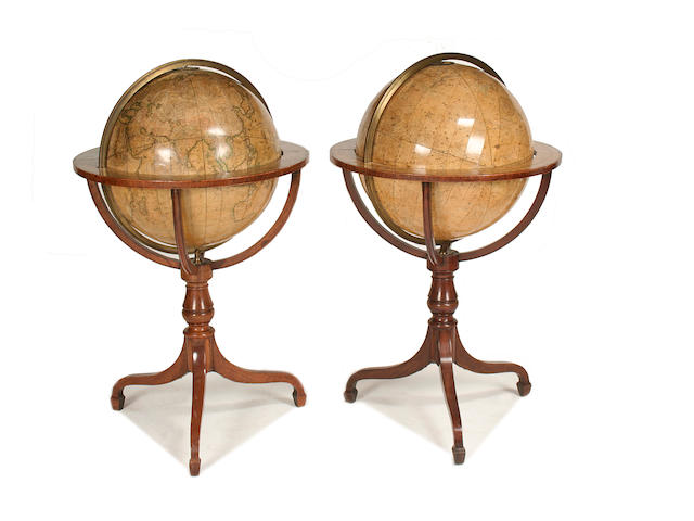 A pair of Cary 20-inch library globes on stands  gores published 1799 and 1806