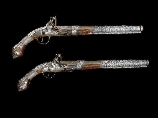 A pair of silver-mounted flintlock Pistols Provincial Ottoman, first half of the 19th Century(2)