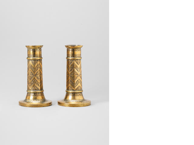 A pair of Safavid brass Candlesticks Persia, 17th Century(2)