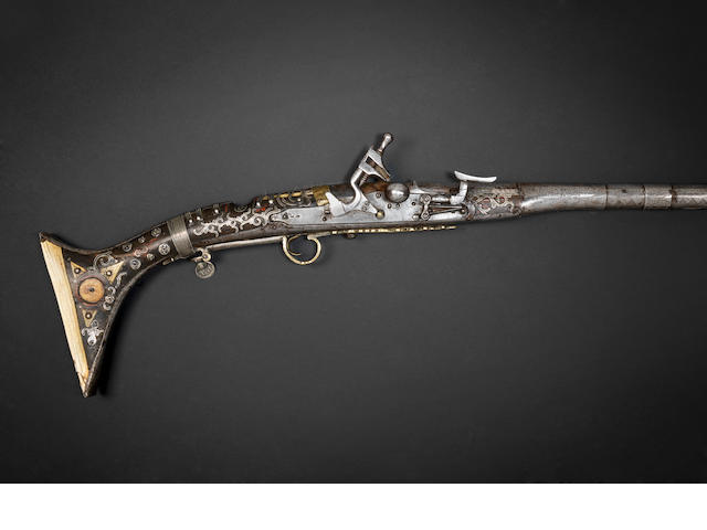 A silver and ivory-mounted snaphaunce Rifle, Morocco, 19th Century