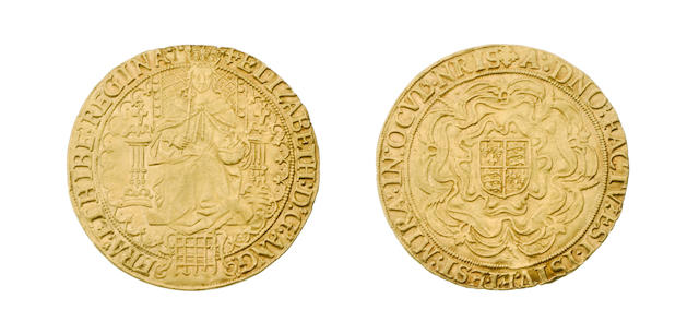 Elizabeth I, second issue (1560-1), Sovereign, 15.1g, queen enthroned holding orb and sceptre, portcullis at feet, back of throne decorated with pellets, tressure broken,
