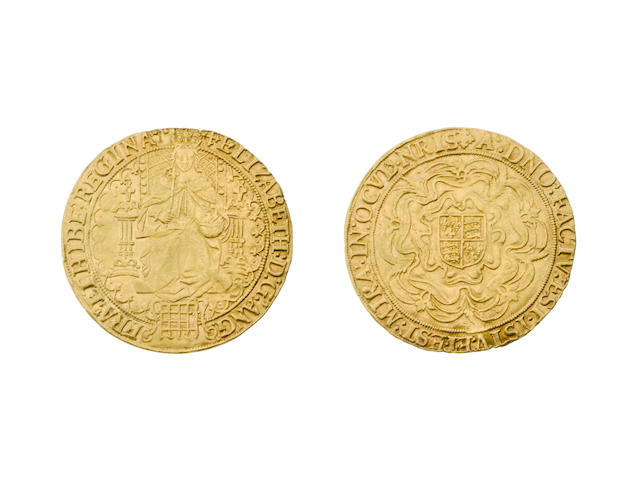 Elizabeth I, 1588-1603, second issue (1560-1), Sovereign, 15.0g, Queen enthroned holding orb and sceptre, portcullis at feet, back of throne decorated with pellets, tressure broken,