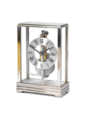 A 20th century silvered in-line bridge mantel timepiece Jaeger-le Coultre