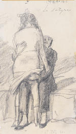 Miklos (Nicolas) Vadasz (Hungarian, 1884-1927) 'Frisson' - A folio of 29 erotic drawings unframed, to be sold with the original red leather solander box