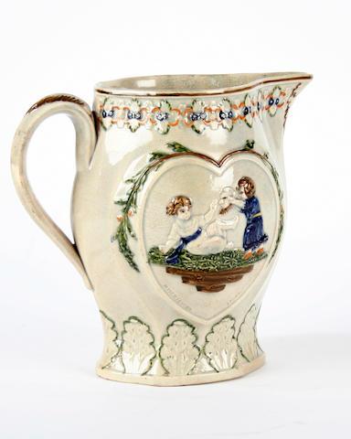 A prattware 'Mischievous Sport' jug, circa 1795