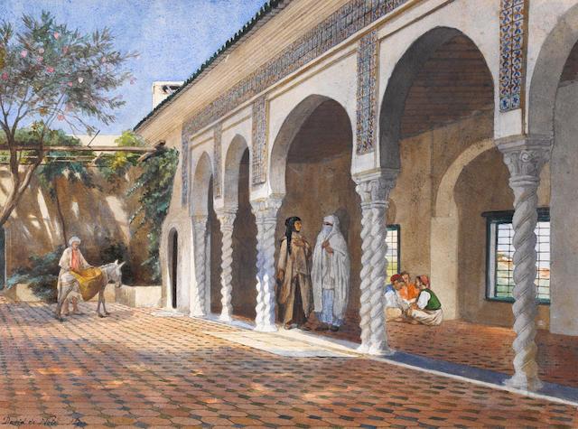 David Emile Joseph de Noter (Belgian, 1825-1892) Courtyard scene, Algiers