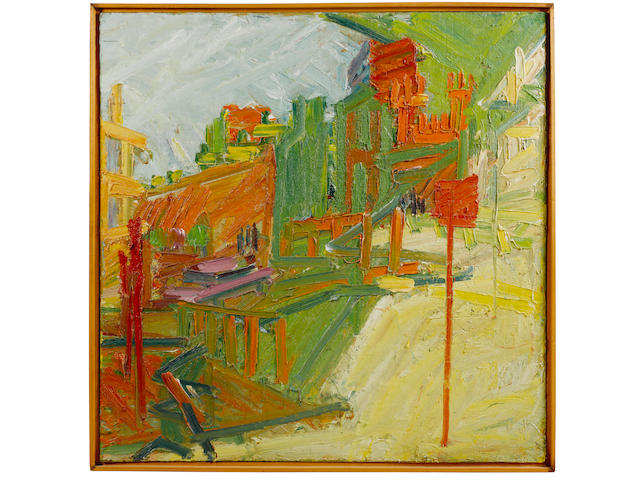 Frank Auerbach (British, born 1931) Looking Towards Mornington Crescent Station 122 x 122 cm. (48 x 48 in.)