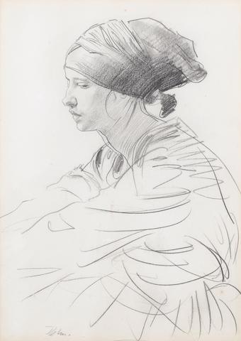 Augustus John O.M., R.A. (British, 1878-1961) Seated Woman 33 x 23.5 cm. (13 x 9 1/4 in.)