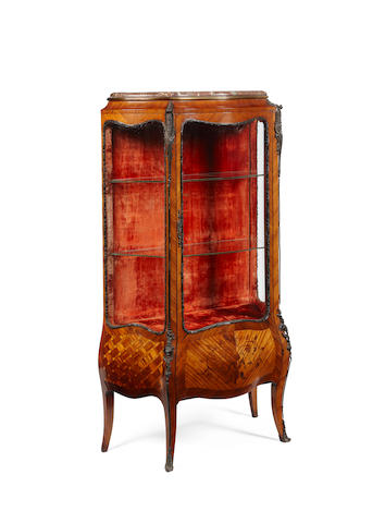 A late 19th century rosewood, kingwood and bronze mounted vitrine