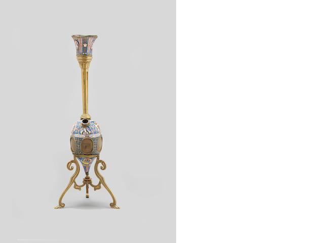 A complete Qajar enamelled copper Ghalian Persia, 19th Century