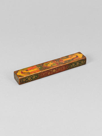 A Qajar lacquered papier mache Letter Holder