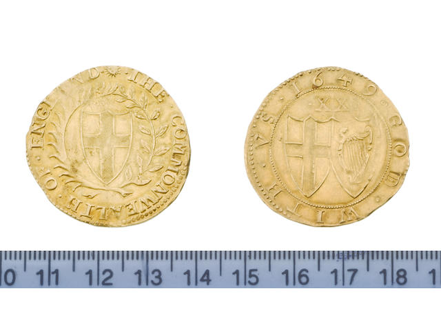 Commonwealth, 1649-60, Unite, 1649, 9.0g, shield of St George within wreath of laurel and palm,