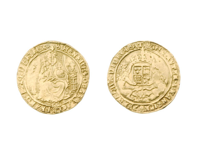 Henry VIII, third coinage (1544-47), Half Sovereign, 6.1g, Southwark, King enthroned holding orb and sceptre,