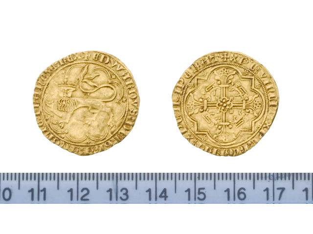 France Anglo-Gallic, Edward III, 1327-77, second issue, July 1356, Leopard d'or, 3.9g, crowned leopard passant left, large crown, 9 arches,   EDWARDVS DEI GRA ANGLIE FRANCIE REX,