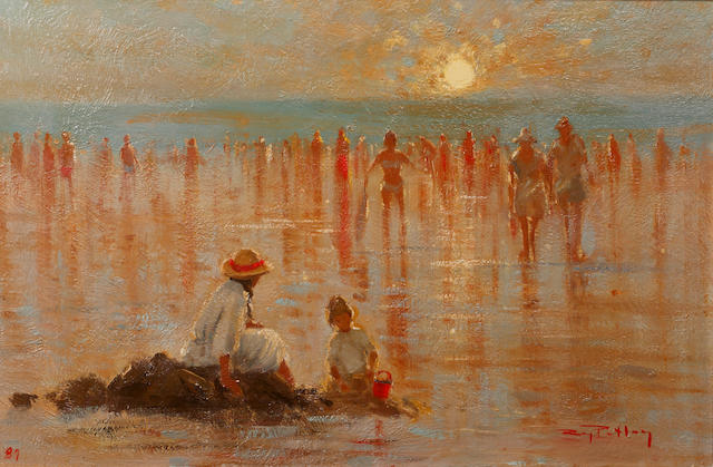 Roy Petley (British, born 1951) Mother and child on a beach at sunset