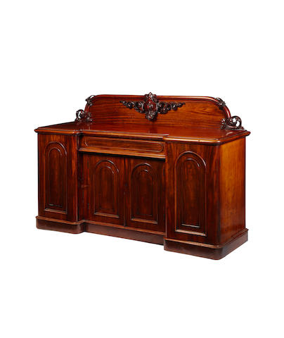A Victorian mahogany inverted breakfront sideboard