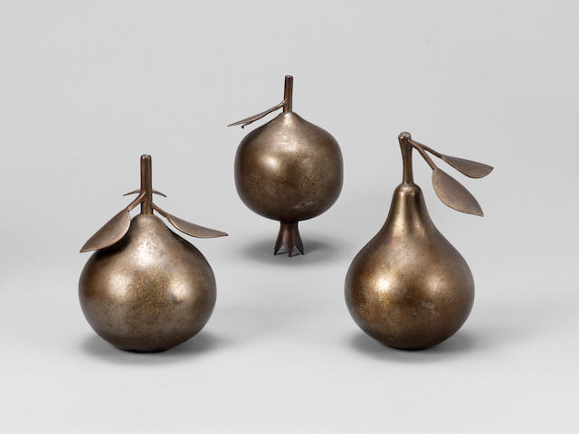 Three Qajar gold damascened Fruits Persia, 19th Century(3)