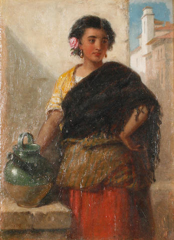 Follower of John Phillip RA HRSA (British, 1817-1867) Portrait of a Spanish girl
