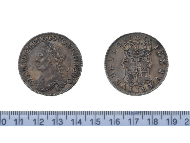 Oliver Cromwell, 1649-60, Halfcrown, 1658, laureate and draped bust left,