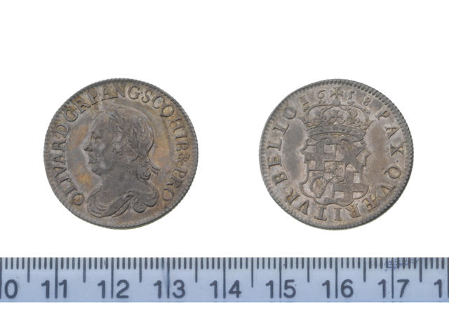 Oliver Cromwell, Shilling, 1658, laureate and draped bust left,