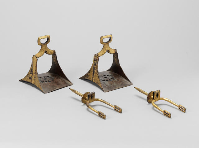 A pair of Ottoman gold damascened steel Stirrups and Spurs Turkey or North Africa, 18th Century(4)