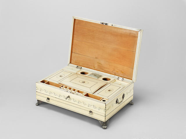 A Vizagapatam ivory-overlaid sandalwood Sewing Box Southern India, late 18th Century