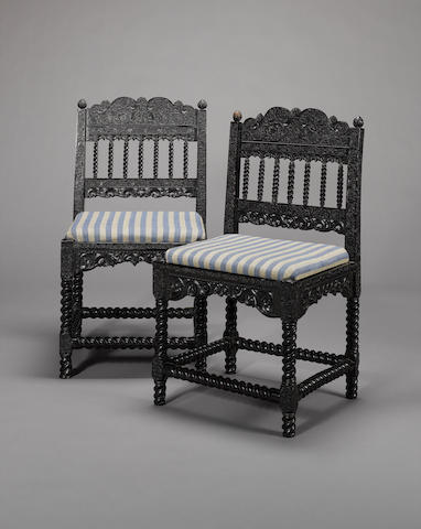 A pair of Coromandel Coast chairs, circa 1640 (2)