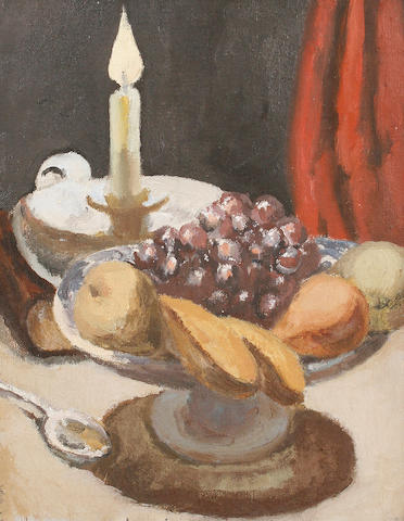 Vanessa Bell (British, 1879-1961) Still life with fruit and candle
