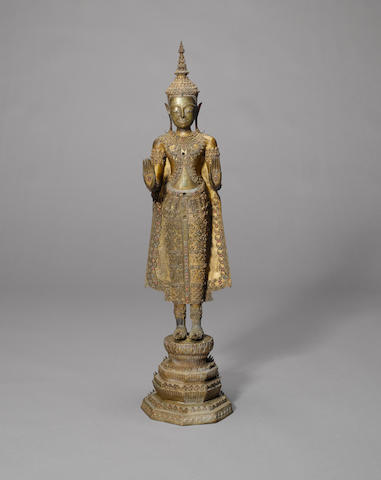 A gilded and lacquered bronze Figure of Buddha Bangkhok, Thailand, late 18th Century