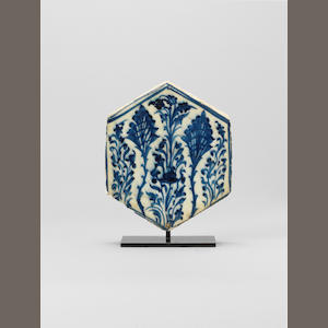 A Mamluk underglaze-painted pottery Tile  Egypt or Syria, 15th Century