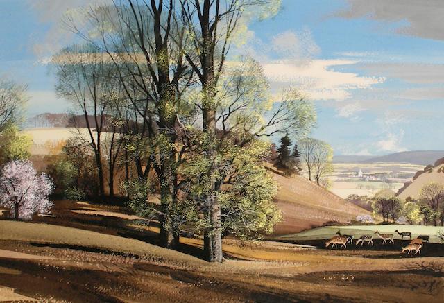 Rowland Hilder (British, 1905-1993) Fallow deer in a landscape