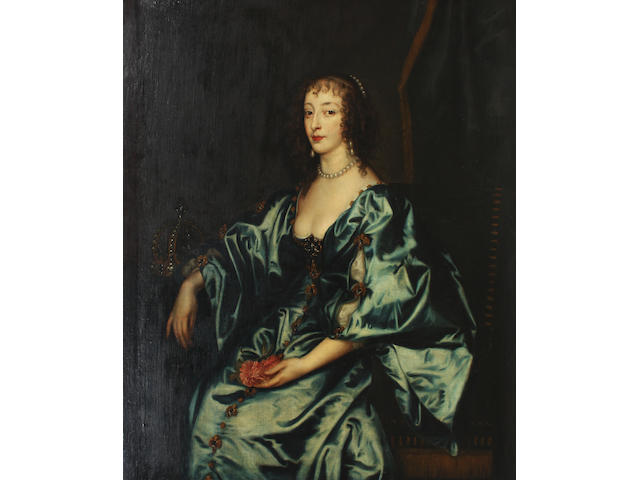After Sir Anthony van Dyck, 18th Century Portrait of Queen Henrietta Maria 121 x 102.5cm In an 18th Century carved giltwood frame.