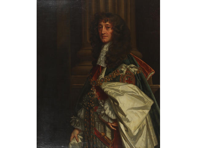 Studio of Sir Peter Lely (British, 1618-1680) Portrait of the Prince Rupert, 1st Duke of Cumberland and Count Palatine of the Rhine, half length, wearing the Order of the Garter and ceremonial robes  121 x 102cm In an 18th Century carved giltwood frame.