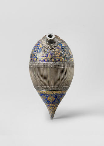 A Qajar enamelled silver Ghalian Section