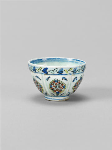 A miniature Kutahya pottery Wine Cup Turkey, 18th Century