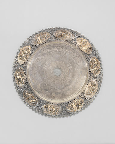 "A large Burmese parcel-gilt silver Dish by Maung Shwe Yon (and Sons), the ""deer"" maker Rangoon, Burma, circa 1890"