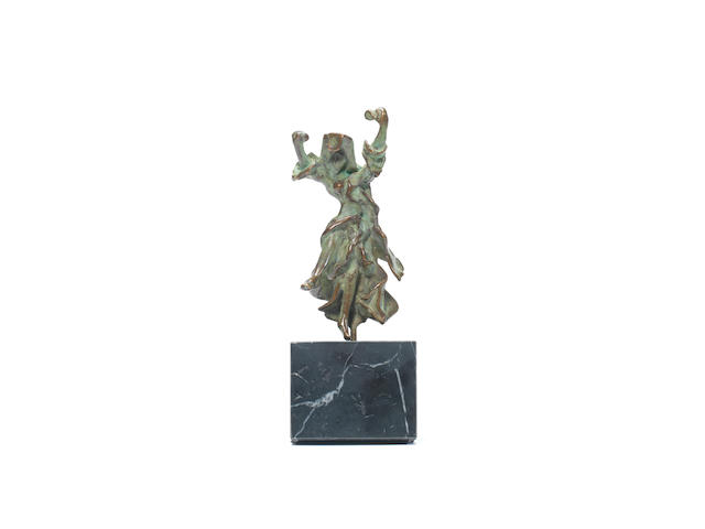 Salvador Dali (Spanish, 1904-1989) Carmen with Castanets Bronze with green patina, circa 1970, with the artist's signature and edition number 72/350 impressed in the bronze, on its original marble base, contained in the original wooden case, 250mm (10in) (including marble base)