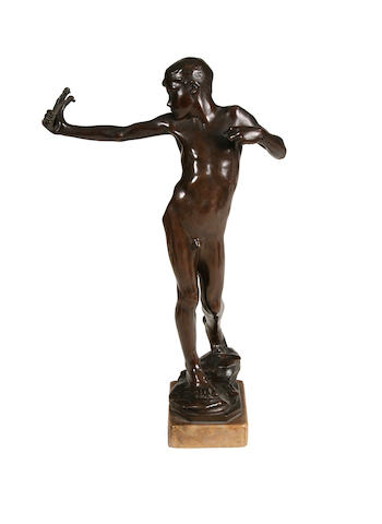 Sir William Reid Dick R.A., Scottish (1879-1961) A bronze figure of a male youth 'Slingboy'