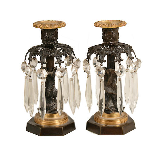 A pair of Regency gilt and patinated bronze and cut glass table lustres