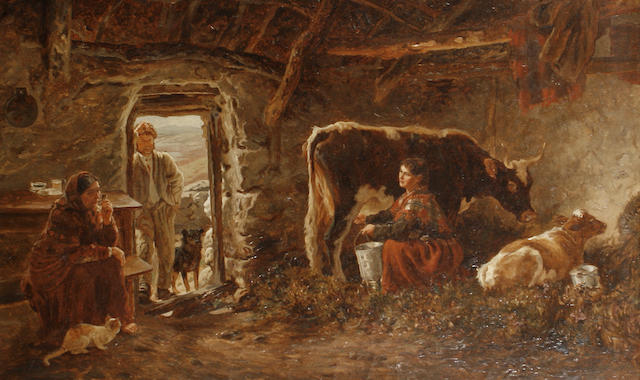 Basil Bradley, RWS (British, 1842-1904) 'Interior of a Cabin' and 'Soogaun (or straw and hay rope) Making', Connemara, Ireland, a pair each 37 x 57.5cm (14 9/16 x 22 5/8in), (2).