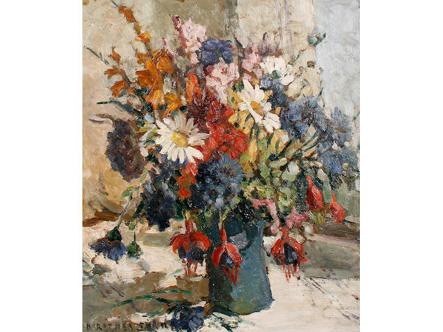 Dorothea Sharp (British, 1874-1955) Still life of mixed flowers in a blue vase