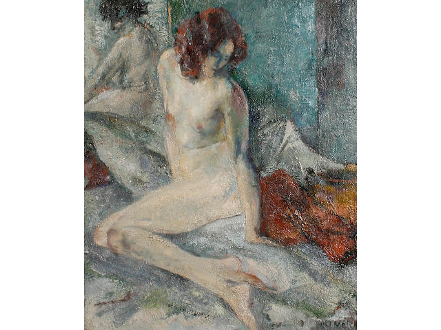 Alfred Aaron Wolmark (British, 1877-1961) Nude and reflection 44.5 x 37 cm. (17 1/2 x 14 1/2 in.)