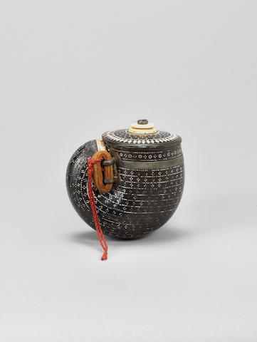 An ivory-inlaid horn Powder Flask India, 18th Century