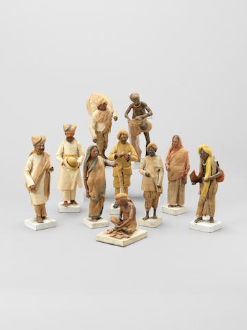 A group of Company School terracotta Figurines depicting Trades People India, 19th Century(10)
