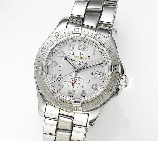 Breitling. A stainless steel automatic chronograph calendar bracelet watch with dual time-zonesColt GMT, Ref. 32350, Serial No. 740194, Sold 16h October 2004