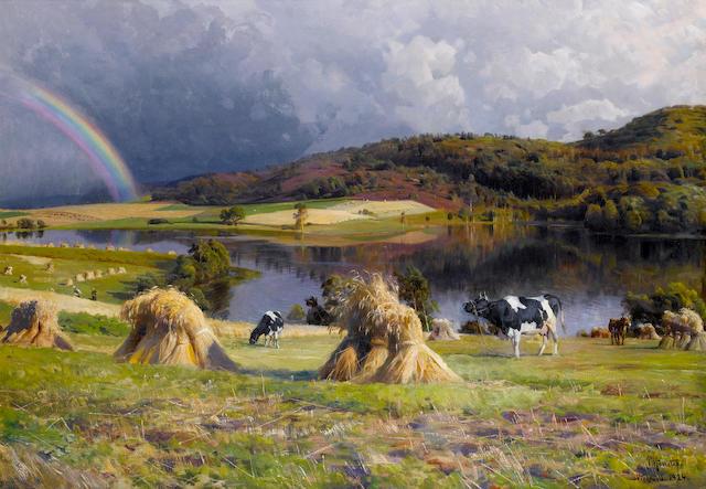 Peder Mork Mönsted (Danish, 1859-1941) Harvesting near lake Thorsø, Virklund, Silkeborg