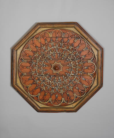 An Ottoman carved wooden octagonal ceiling Panel