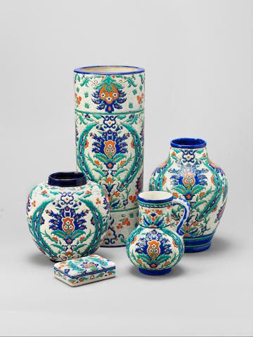 A group of Iznik style Keramis pottery Vessels Belgium, early 20th Century(5)