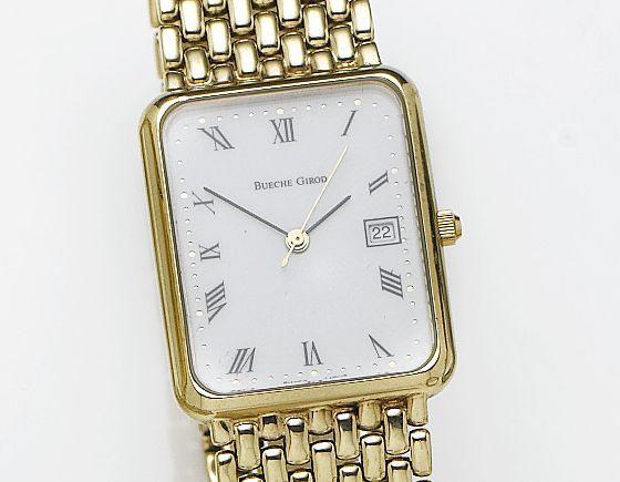 Bueche Girod. A 9ct gold quartz bracelet watchRecent