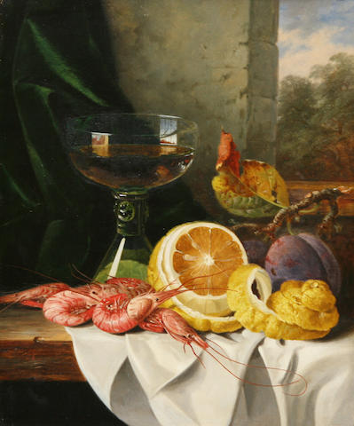 Edward Ladell (British, 1821-1886) Still life with prawns and fruit